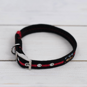 Black and red striped Oscar and Hooch dog collar