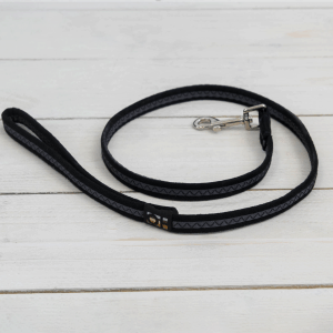 Black fabric dog lead