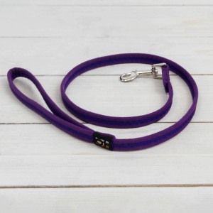 Purple soft fabric dog lead