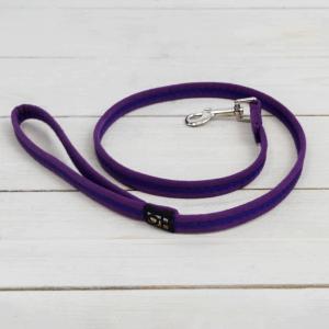 Purple soft fabric dog lead