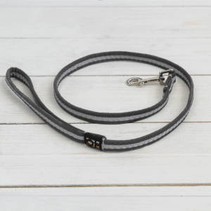 Graphite grey soft fabric dog lead