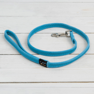 Light blue fabric dog lead