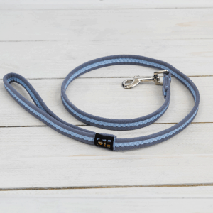 Sky blue suedette dog lead