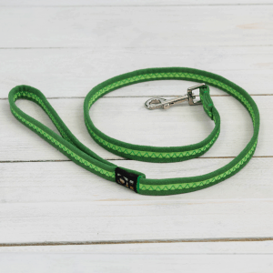 Bright green soft dog lead