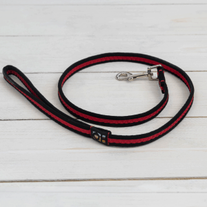 Red and black striped dog lead