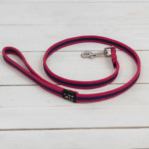 Red and navy blue striped dog lead