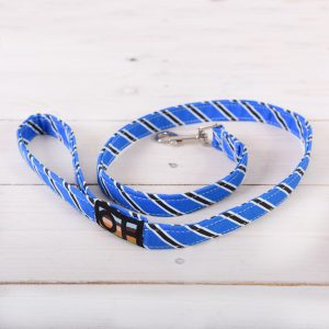 Blue and black striped dog lead