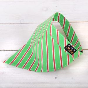 Green and red striped dog bandanna