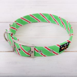Green and red striped Christmas dog collar