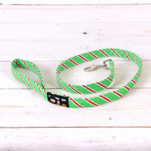 Green and red striped dog lead
