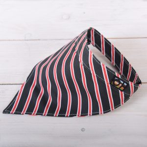 Black and red striped dog bandanna