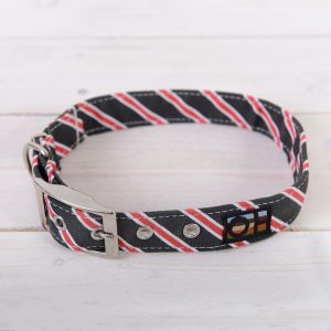 Black and red striped dog collar