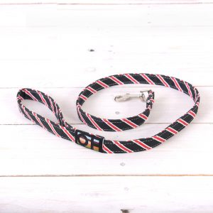 Black and red striped dog lead