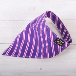 Purple and pink striped dog bandanna