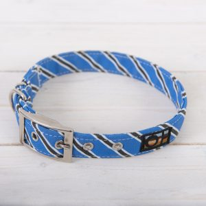 Blue and black striped dog collar