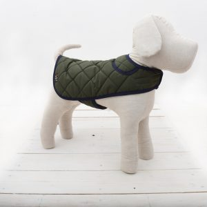 quilted green dog coat